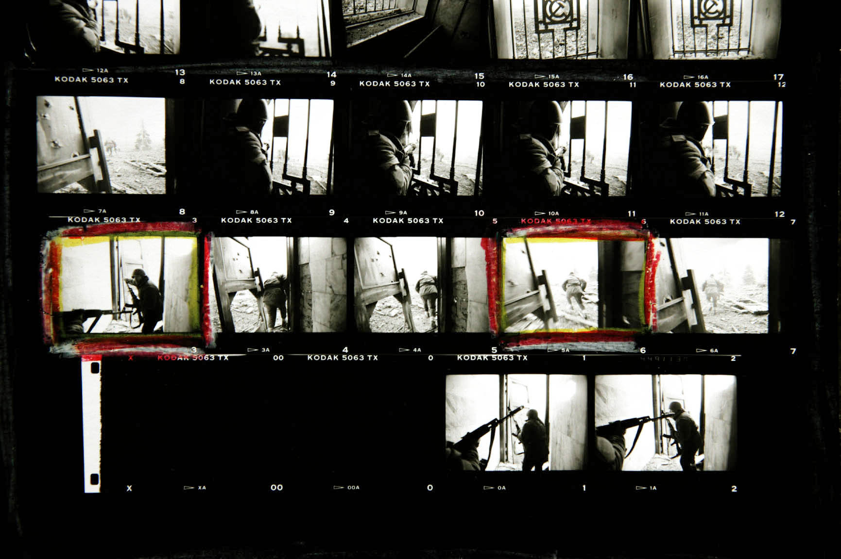 Contact sheet from Chechnya. ©Christopher Morris / VII Photo