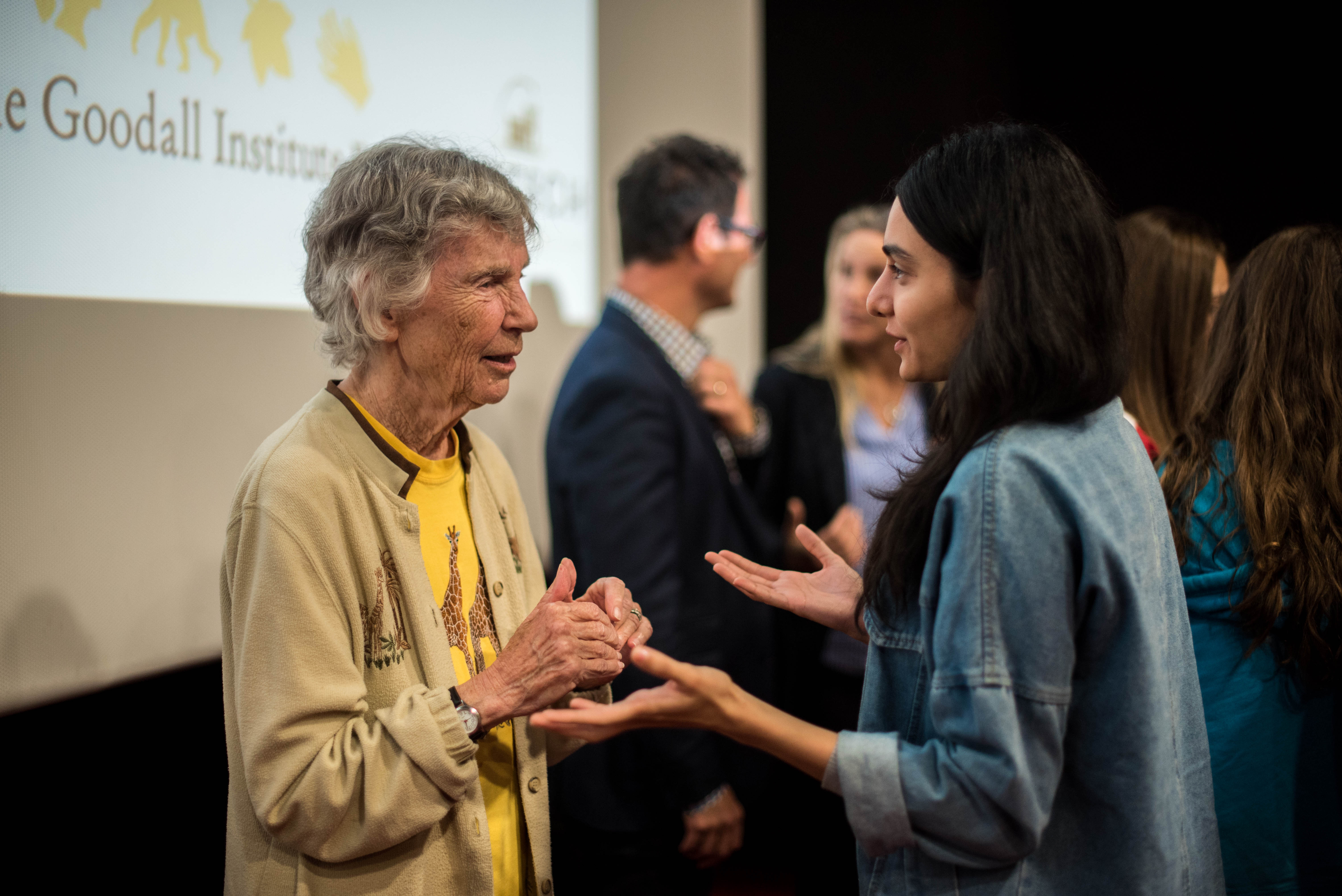 "Renowned Canadian researcher of giraffes and protagonist of the film ""The Woman Who Loves Giraffe,s"" Anne Innis Dagg, speaks with Indian filmmaker Eshika Fyzee after the screening of ""The Woman Who Loves Giraffes"" on Friday, October 19, 2019. © Stephane Ferrer Yulianti"